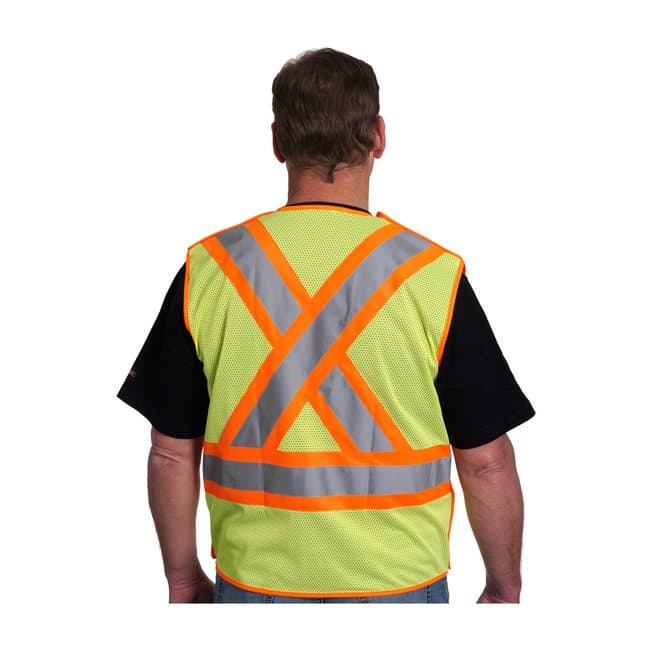 PIPANSI Type R Class 2 Two-Tone X-Back Breakaway Mesh Vest:Personal Protective