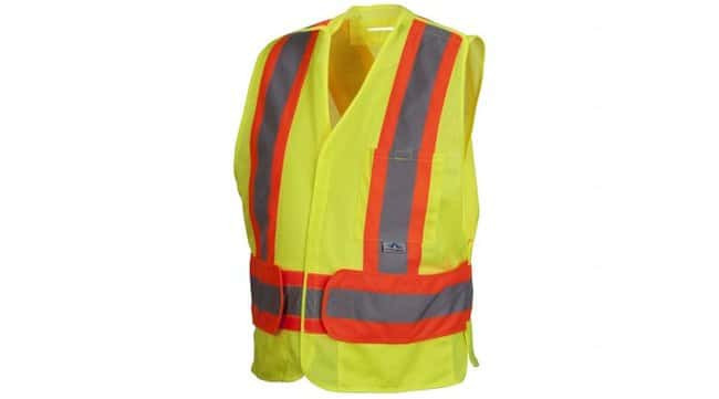 Pyramex Safety Products Hi-Vis 3-Pocket Safety Vest Lime; Closure: Breakaway