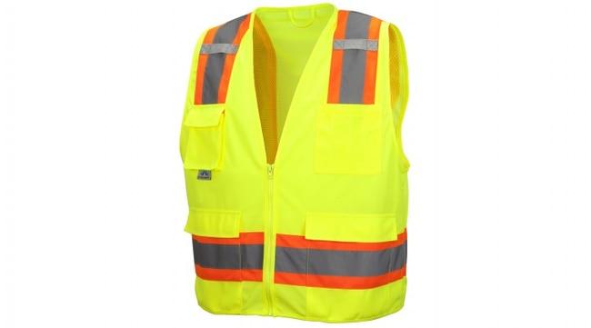 Pyramex RVZ24 Series - Safety Vest Hi-Vis Lime, Medium:Gloves, Glasses