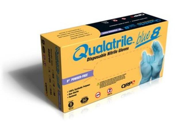 QRP Qualatrile Blue Nitrile 9 in Powder-Free Gloves Size: Medium:Gloves,