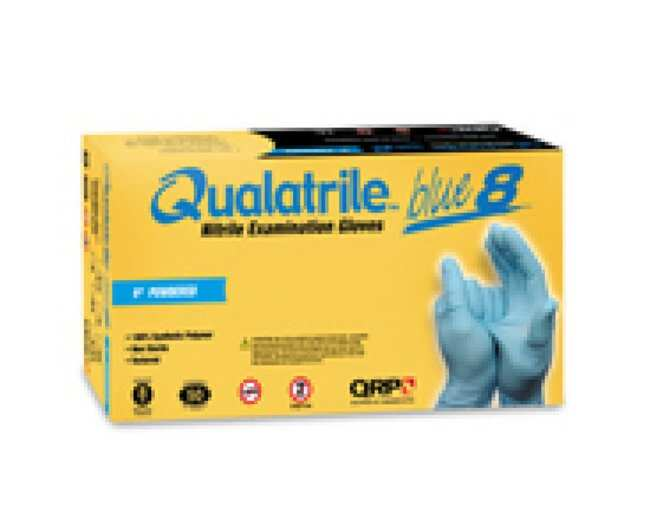 QRP Qualatrile Blue Nitrile 9 in Low Powder Gloves Size: L:Gloves, Glasses