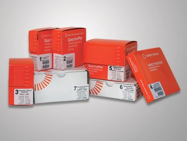 Spectrum™Spectra/Por™ 7 vorbenetzte 10,000–D-MWCO-Standarddialysekits aus RC für Labors 32mm Breite; 20.4mm Durchmesser; Vol./Länge: 3.3ml/cm Spectrum™Spectra/Por™ 7 vorbenetzte 10,000–D-MWCO-Standarddialysekits aus RC für Labors