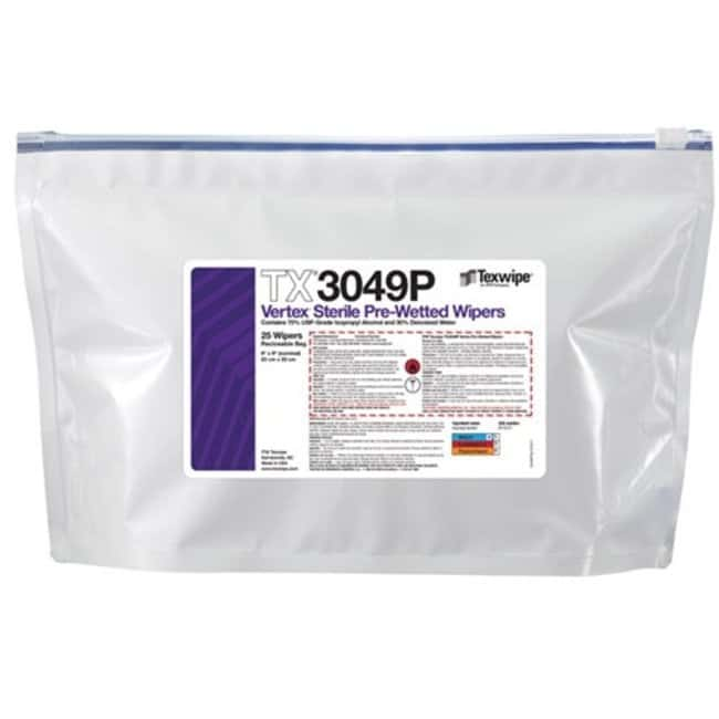 TexwipeVertex Sterile High Sorption Wipers Pre-wetted; 23 x 23cm (9 x 9