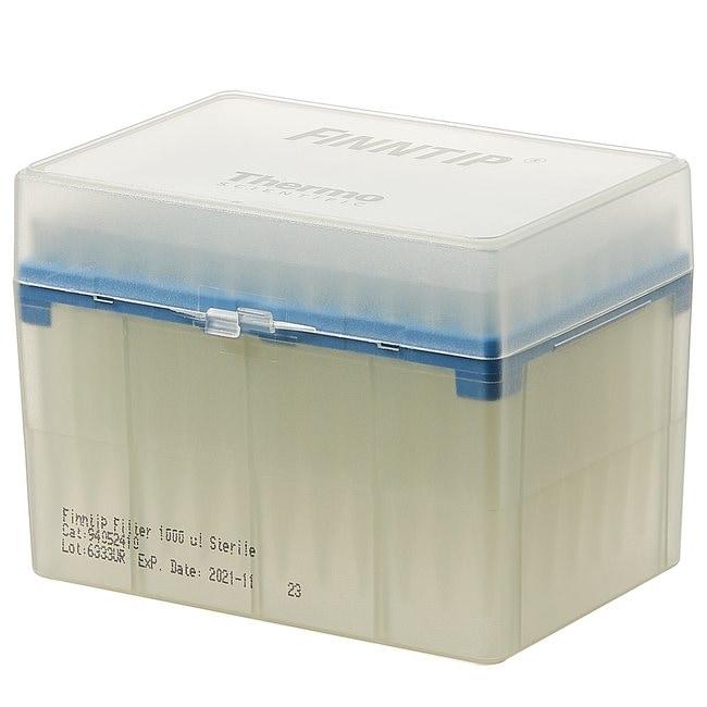 Thermo Scientific™Finntip™ Filtered Pipette Tips Finntip™ Filtered Pipette Tips; Volume: 100 to 1000μL; Color Code: Blue; Sterility: Sterile; Unit Size: 10 × Racks of 96 tips (960 tips in total) Thermo Scientific™Finntip™ Filtered Pipette Tips