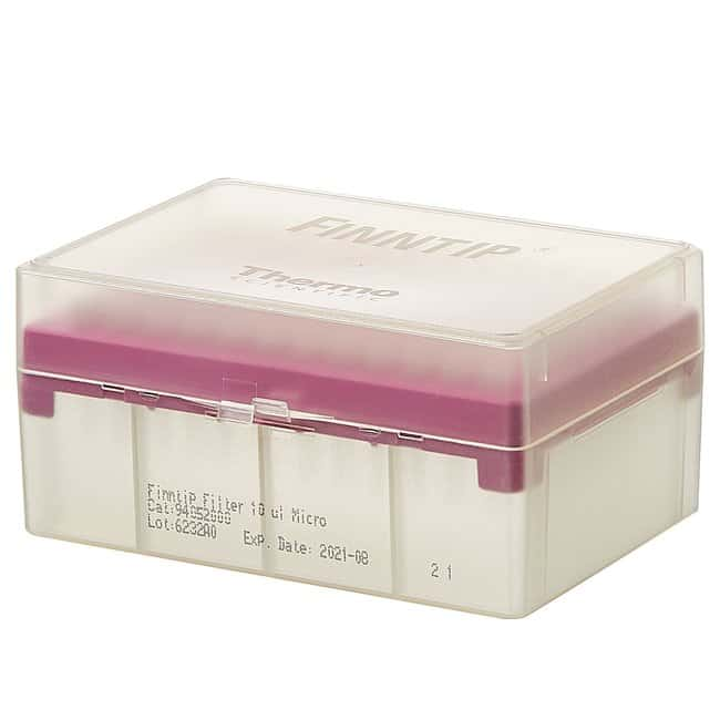 Thermo Scientific™Finntip™ Filtered Pipette Tips Finntip™ Filtered Pipette Tips; Volume: 0.2 to 10μL; Color code: Pink; Sterility: Sterile; Unit Size: 10 × Racks of 96 tips (960 tips in total) Thermo Scientific™Finntip™ Filtered Pipette Tips