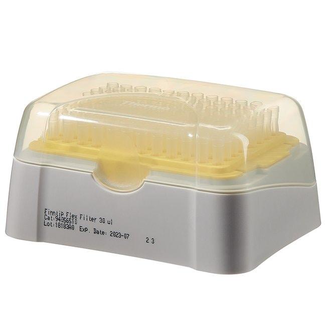 Thermo Scientific™Finntip™ Flex Filtered Pipette Tips Finntip™ Flex Filtered Pipette Tips; Volume: 30μL; Color code: Yellow; Sterility: Sterile; Unit Size: 10 × Racks of 96 tips (960 tips in total) Thermo Scientific™Finntip™ Flex Filtered Pipette Tips