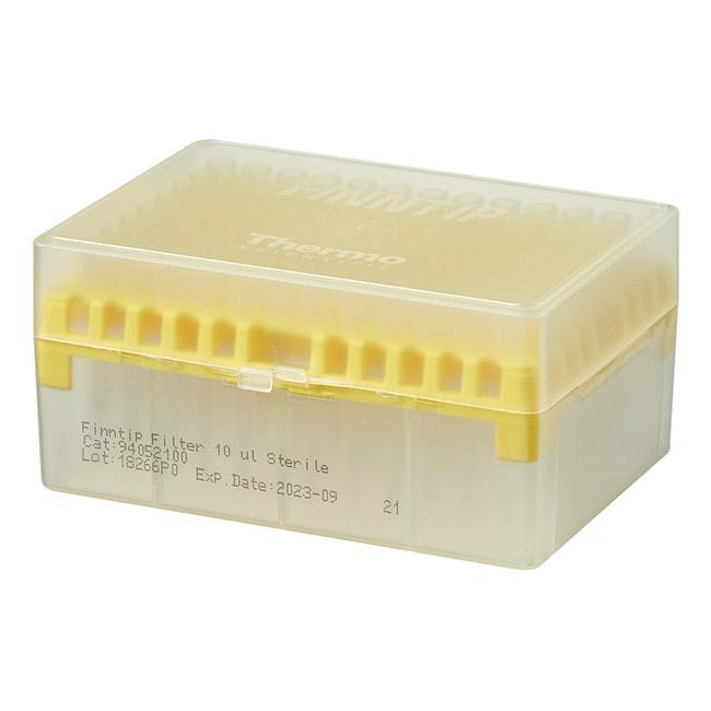 Thermo Scientific™Finntip™ Filtered Pipette Tips Finntip™ Filtered Pipette Tips; Volume: 0.5 to 10μL; Color Code: Yellow; Sterility: Sterile; Unit Size: 10 × Racks of 96 tips (960 tips in total) Thermo Scientific™Finntip™ Filtered Pipette Tips