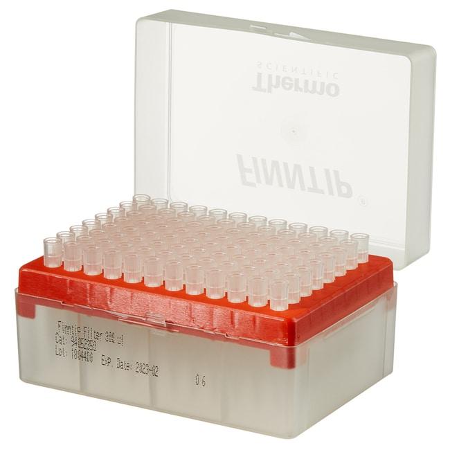 Thermo Scientific™Finntip™ Pipettenspitzen mit Filter Finntip™ Filtered Pipette Tips; Volume: 5 to 300μL; Color Code: Orange; Sterility: Sterile; Unit Size: 10 × Racks of 96 tips (960 tips in total) Thermo Scientific™Finntip™ Pipettenspitzen mit Filter