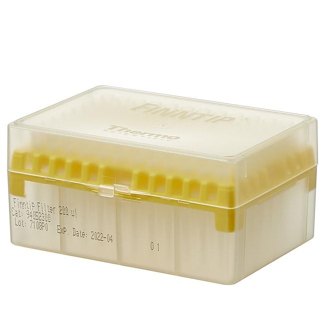 Thermo Scientific™Finntip™ Filtered Pipette Tips Finntip™ Filtered Pipette Tips; Volume: 0.5 to 200μL; Color Code: Yellow; Sterility: Sterile; Unit Size: 10 × Racks of 96 tips (960 tips in total) Thermo Scientific™Finntip™ Filtered Pipette Tips