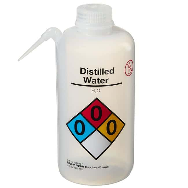 Thermo Scientific™Nalgene™ Vented Unitary Right-to-Know LDPE Wash Bottles Vented Unitary Right-to-Know Bottle; Distilled water; Capacity: 32 oz. (1000mL) Thermo Scientific™Nalgene™ Vented Unitary Right-to-Know LDPE Wash Bottles