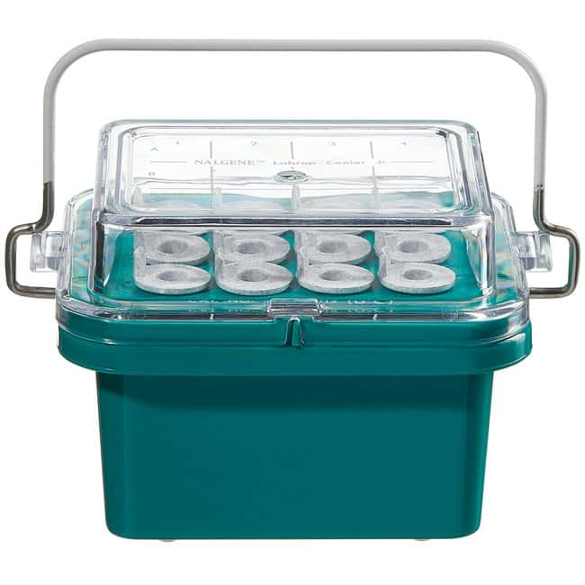Thermo Scientific™Benchtop Coolers Nalgene Labtop Cooler, 3x4 compartments, non-filled, 0 degrees, PC, blue w/ clear lid Thermo Scientific™Benchtop Coolers