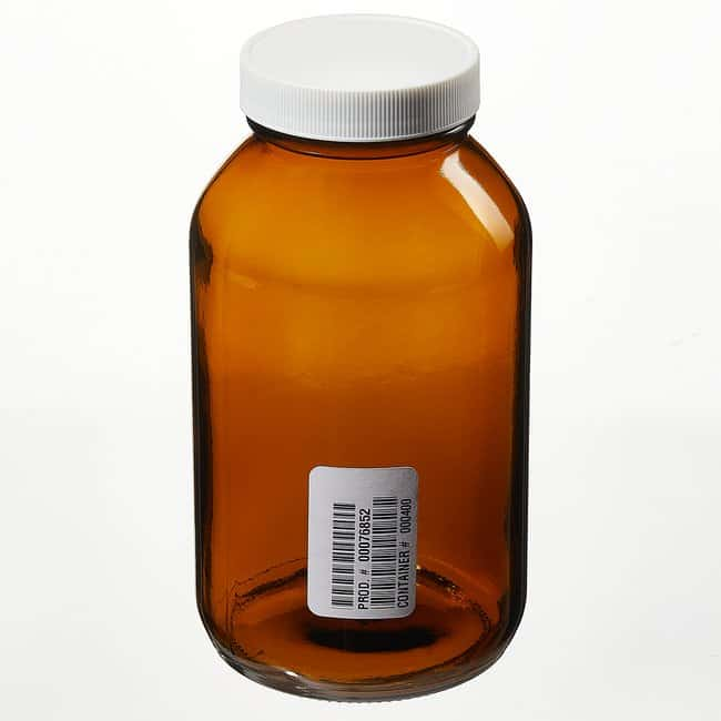 Fisherbrand™Custom Cleaned Amber Wide Mouth Packer Bottles Capacity: 16 oz. (500mL) Fisherbrand™Custom Cleaned Amber Wide Mouth Packer Bottles