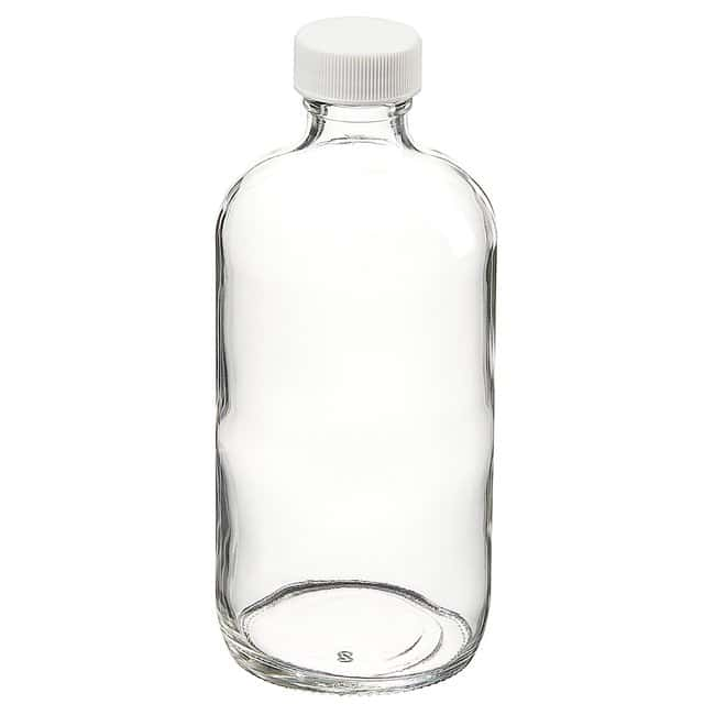 Fisherbrand™ Custom Cleaned Clear Boston Round Bottles