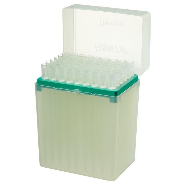 Thermo Scientific™Finntip™ Filtered Pipette Tips Finntip™ Filtered Pipette Tips; Volume: 1 to 5mL; Color Code: Green; Length: 5.75 in; Sterility: Sterile; Unit Size: 5 × Racks of 54 tips (270 tips in total) Thermo Scientific™Finntip™ Filtered Pipette Tips