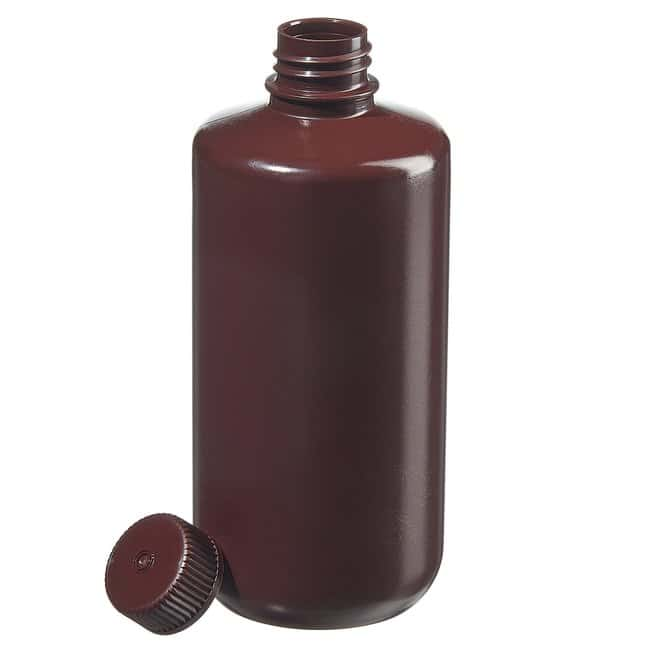 Thermo Scientific™Nalgene™ Narrow-Mouth Opaque Amber HDPE Packaging Bottles with Closure: Bulk Pack 500mL, 28-415 closure Thermo Scientific™Nalgene™ Narrow-Mouth Opaque Amber HDPE Packaging Bottles with Closure: Bulk Pack
