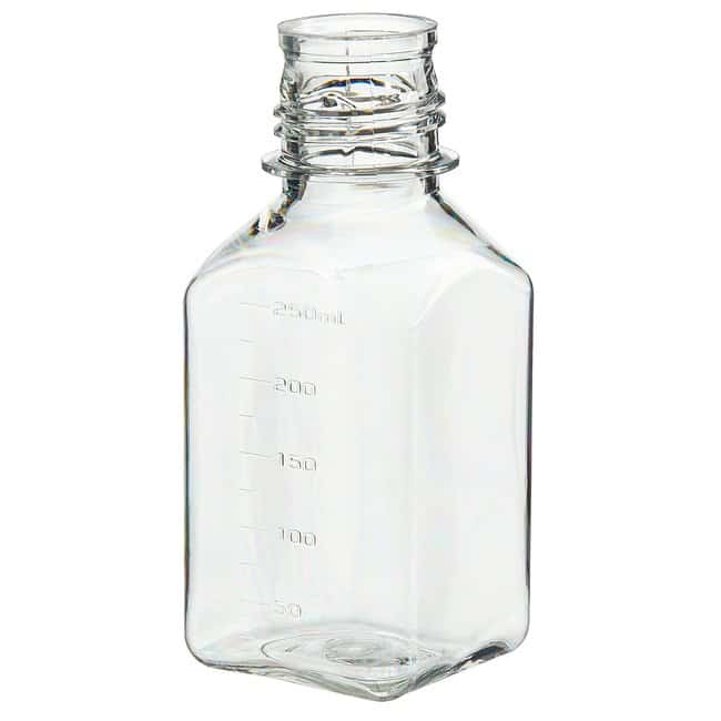 Thermo Scientific™Nalgene™ PETG Square Media Bottles without Closure: Sterile, Shrink-Wrapped Trays 250mL, 38-430 closure, tray pack Thermo Scientific™Nalgene™ PETG Square Media Bottles without Closure: Sterile, Shrink-Wrapped Trays