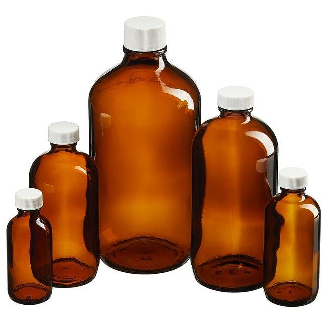 Fisherbrand™Custom Cleaned Amber Boston Round Bottles: Environmental Sampling Bottles and Accessories Bottles