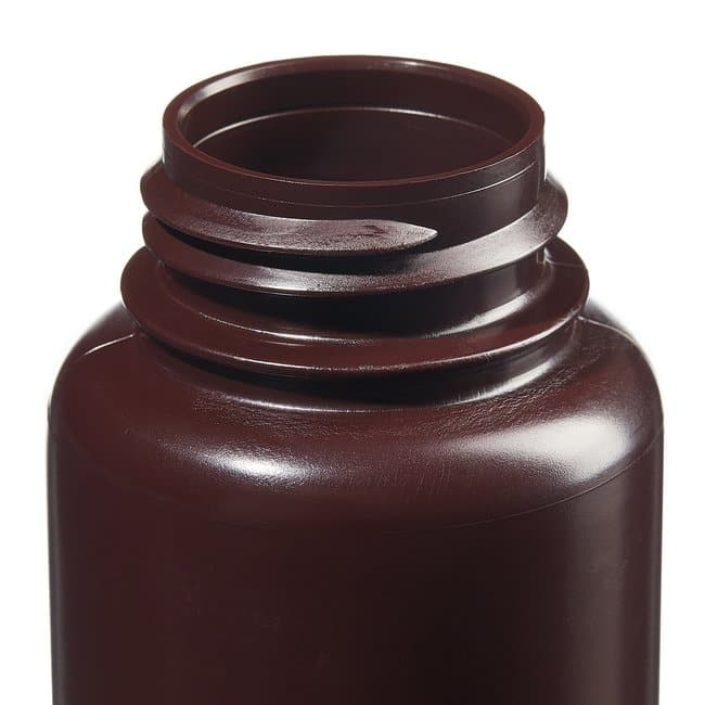 Fisherbrand™ Amber HDPE Wide-Mouth Bottles Capacity: 8 oz. (250mL); 43mm screw cap size Fisherbrand™ Amber HDPE Wide-Mouth Bottles