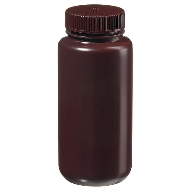 Fisherbrand™Amber HDPE Wide-Mouth Bottles Capacity: 16 oz. (500mL); 53mm screw cap size Fisherbrand™Amber HDPE Wide-Mouth Bottles