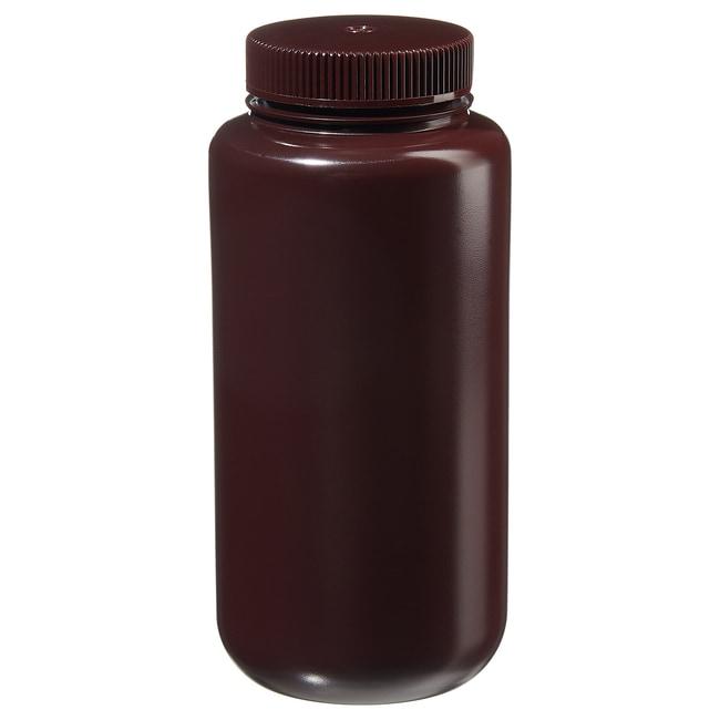 Fisherbrand™Bottiglie a imboccatura larga in HDPE color ambra Capacity: 32 oz. (1000mL); 63mm screw cap size Fisherbrand™Bottiglie a imboccatura larga in HDPE color ambra