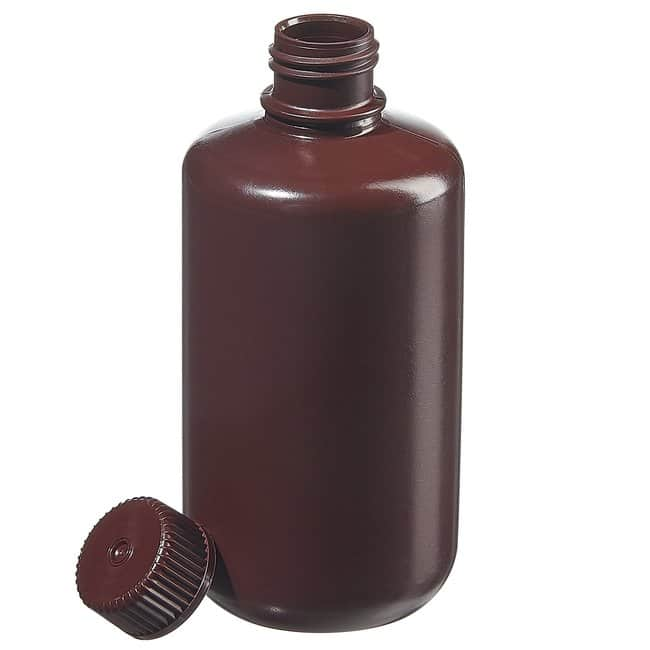 Fisherbrand™Amber HDPE Narrow-Mouth Bottles Capacity: 8 oz. (250mL); Screw cap size: 24mm-400; 12/Pk. Fisherbrand™Amber HDPE Narrow-Mouth Bottles