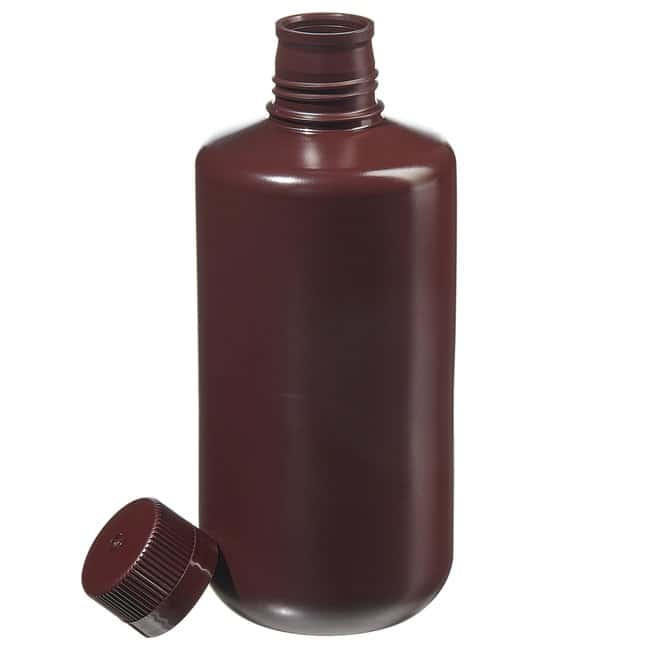 Fisherbrand™Bottiglie a imboccatura stretta in HDPE color ambra Capacity: 32 oz. (1000mL); Screw cap size: 38mm-430; 6/Pk. Fisherbrand™Bottiglie a imboccatura stretta in HDPE color ambra