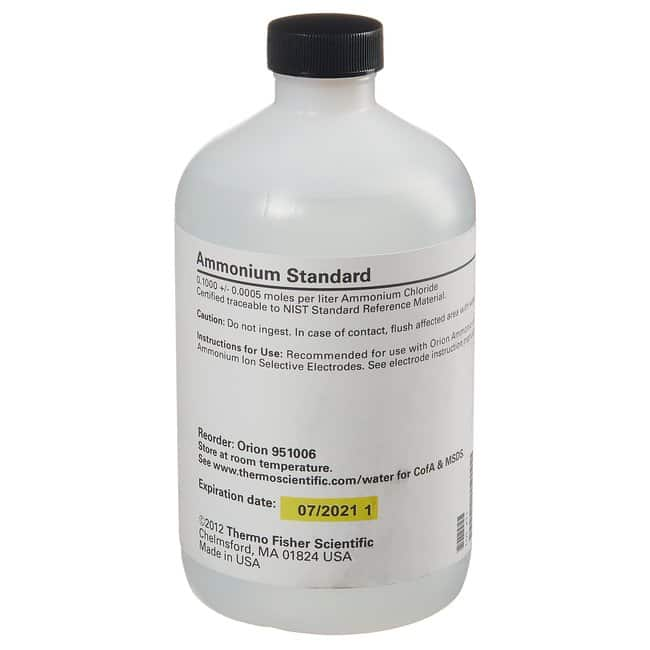 Thermo Scientific™Orion™ ISE Calibration Standards 0.1M NH4Cl; 475mL; CAS: (12125-02-9) Thermo Scientific™Orion™ ISE Calibration Standards