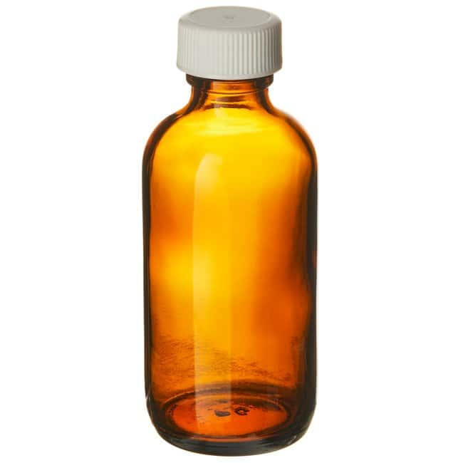 Fisherbrand  Amber Boston Round Glass Bottles with White Polypropylene Caps