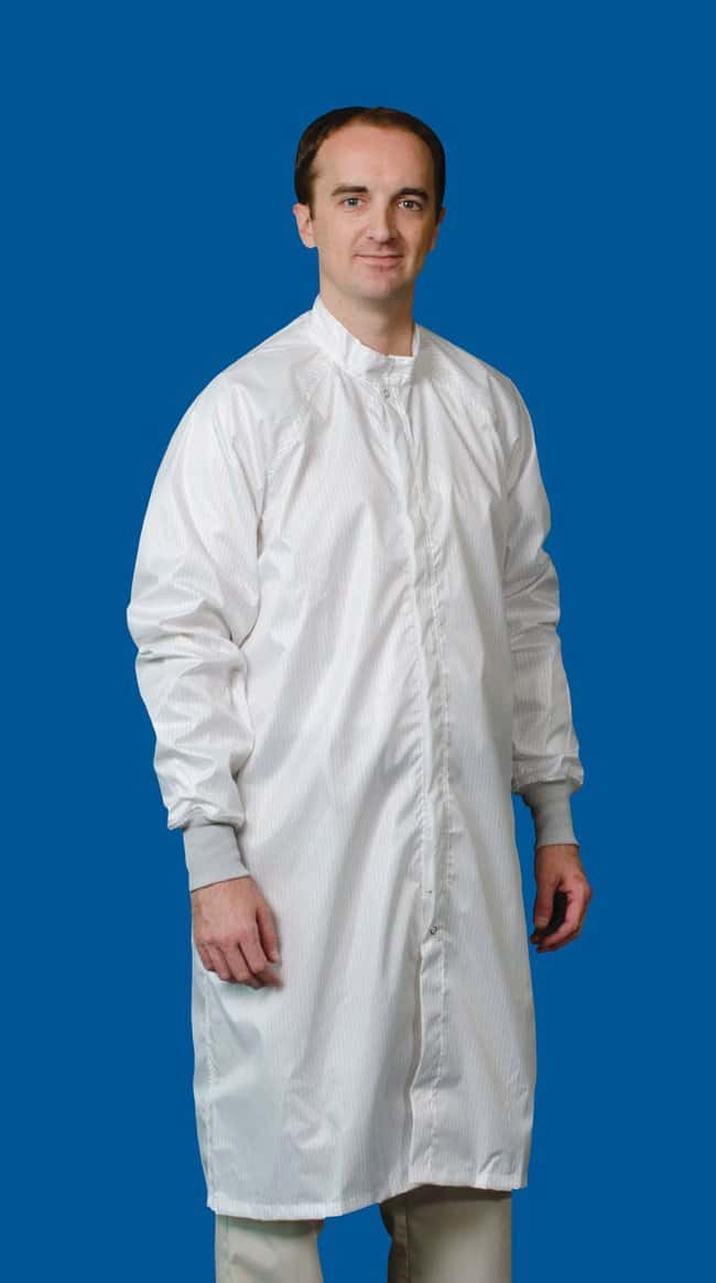White Knight Zipper Front Reusable Cleanroom Frock:Gloves, Glasses and