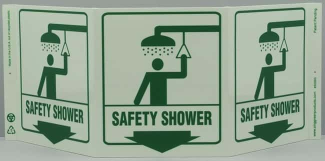 ZING Enterprises Eco Safety Tri View Sign, Safety Shower - Gloves, Glasses  and Safety, Facility Maintenance and Safety