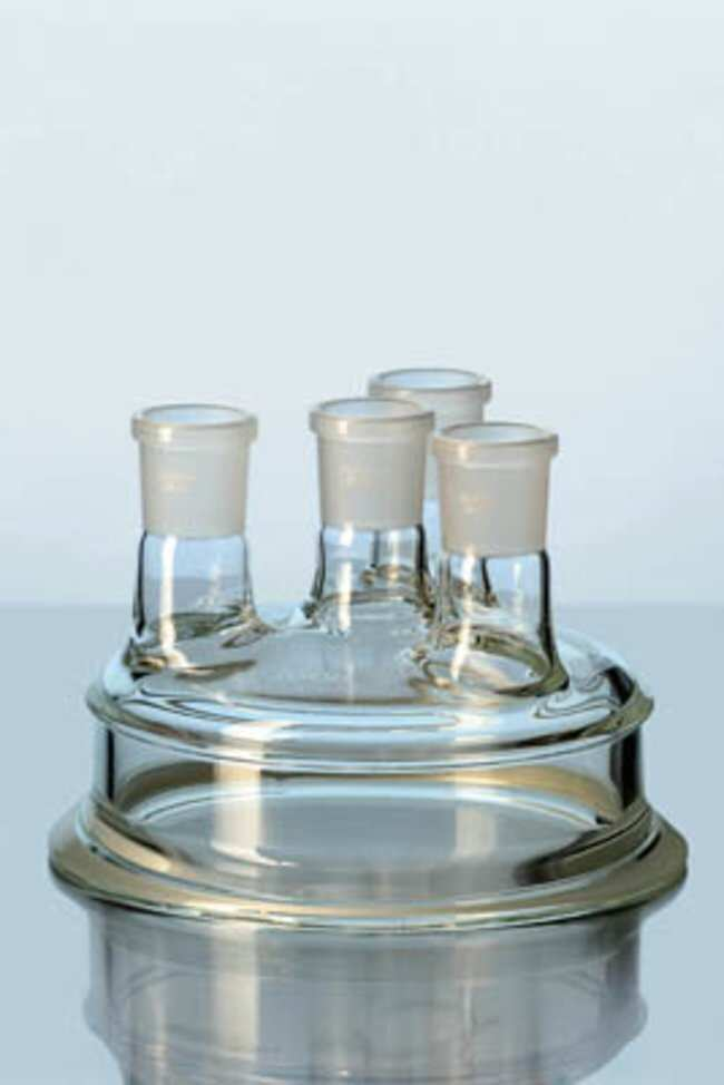 Duran™ Borosilicate Glass Flat Flange Lids Height: 120mm; Standard Taper Joint: NS 29/32; O.D. Flange: 184mm Ver productos