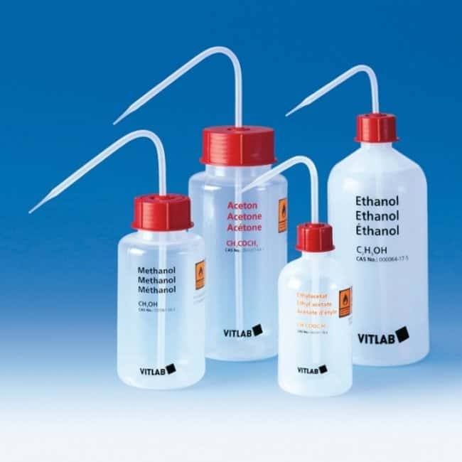 VITLAB™ Narrow Mouth LDPE Safety Wash Bottles Chemical Label: Ethanol, Capacity: 250mL VITLAB™ Narrow Mouth LDPE Safety Wash Bottles