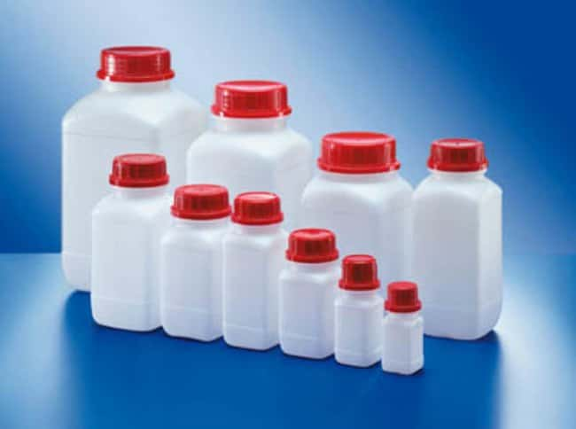 Kautex™ HDPE Wide Neck Square Bottles Capacity: 250mL; Height: 129.5mm; Color: Natural Kautex™ HDPE Wide Neck Square Bottles
