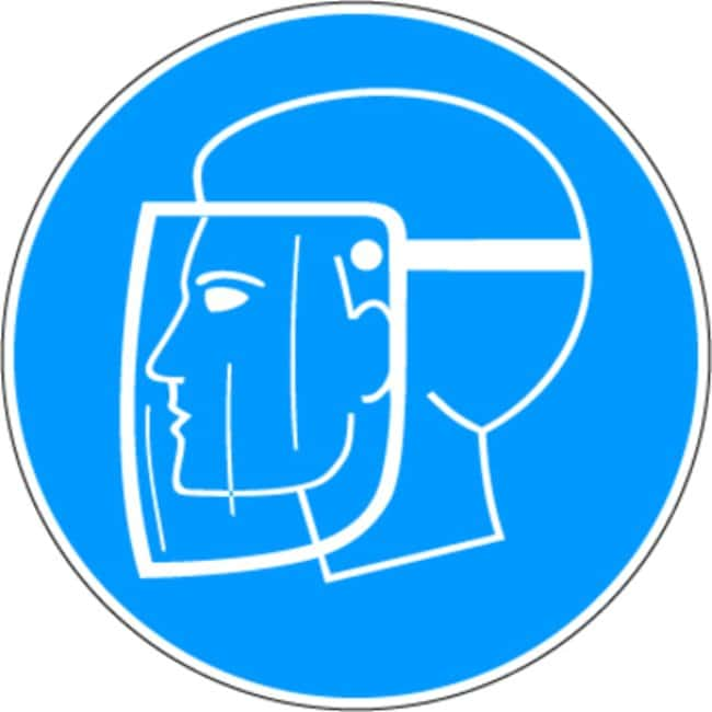 Brady™Aluminum with Polyester Overlaminate Mandatory Signs Use Face Shield; Diameter: 100mm Brady™Aluminum with Polyester Overlaminate Mandatory Signs