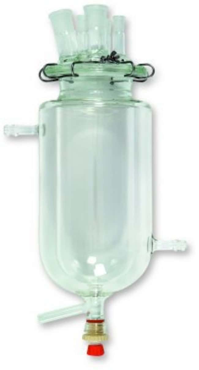 Pyrex™ Borosilicate Glass Cylindrical Reaction Vessel with Thermostat Valve Capacity: 2000mL Pyrex™ Borosilicate Glass Cylindrical Reaction Vessel with Thermostat Valve