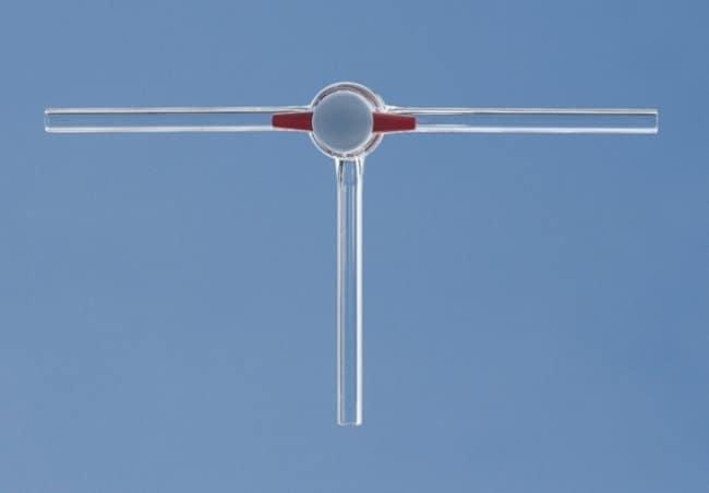 Lenz Laborglasinstrumente™3.3 Borosilicate Glass 3-Way Stopcocks Bore Size: 4mm; Includes PTFE plug and screw thread retaining device Lenz Laborglasinstrumente™3.3 Borosilicate Glass 3-Way Stopcocks