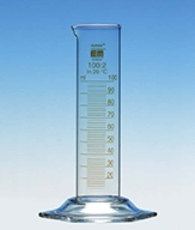 Hirschmann™Class B Measuring Cylinders, Low Form, Amber Stain Graduation Capacity: 100mL; Height: 170mm; Brown Graduations; Short Version Hirschmann™Class B Measuring Cylinders, Low Form, Amber Stain Graduation