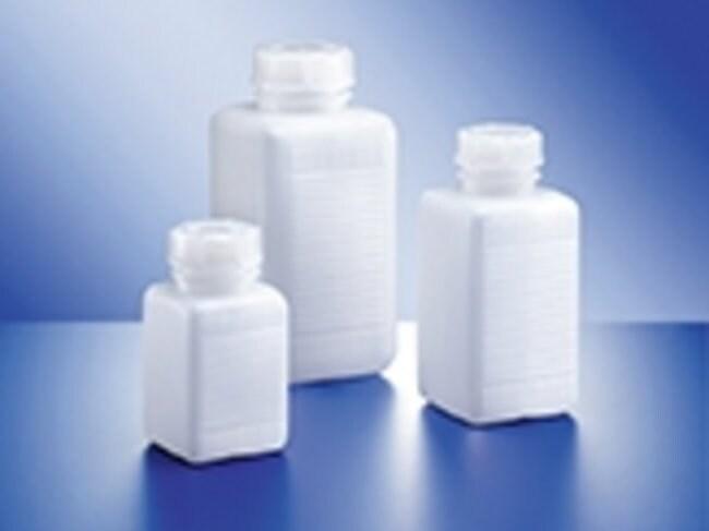 Kautex™Flacons carrés à col large en polyéthylène Capacité: 500ml; Hauteur: 145,5mm; Couleur: Naturel Kautex™Flacons carrés à col large en polyéthylène