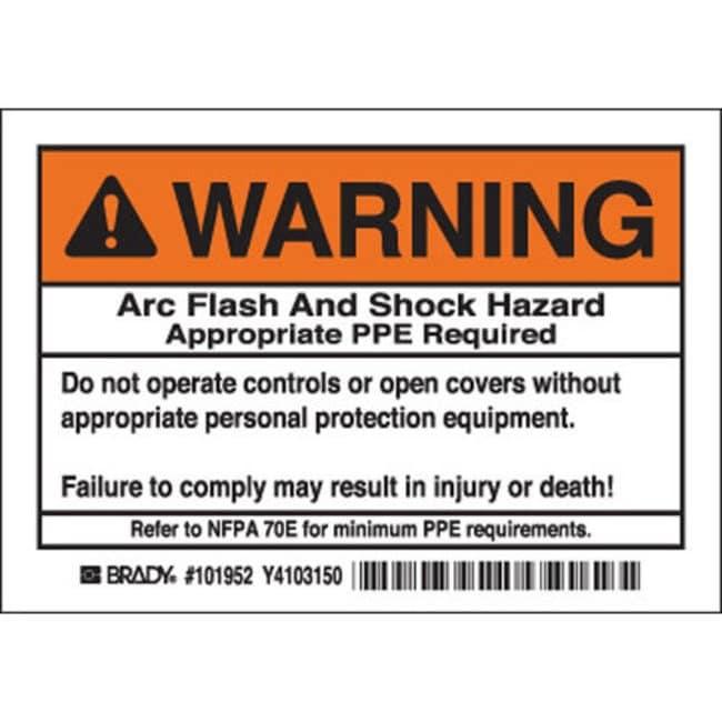 Brady Arc Flash Labels - Self-Sticking Polyester Warning Header, 5 / PAC:Gloves,