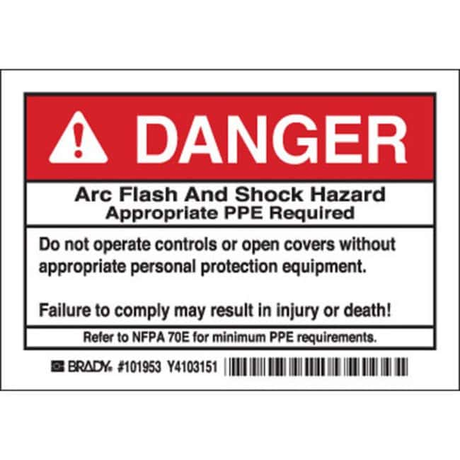 Brady Arc Flash Labels - Self-Sticking Polyester Danger Header, 5 / PAC:Gloves,