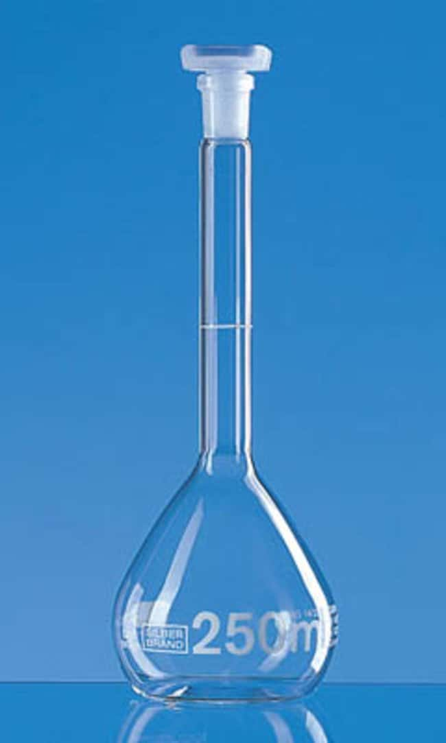 Brand™ Silberbrand™ Borosilicate Glass Class B Volumetric Flask Clear; Polypropylene Stopper; Error limit: ±0.25mL Brand™ Silberbrand™ Borosilicate Glass Class B Volumetric Flask