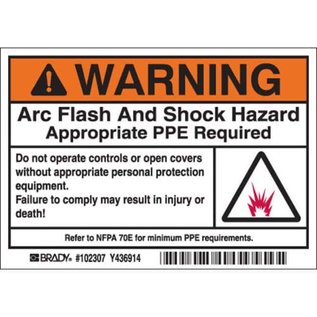 Brady Arc Flash Labels - Self-Sticking Polyester Warning Header with picto,