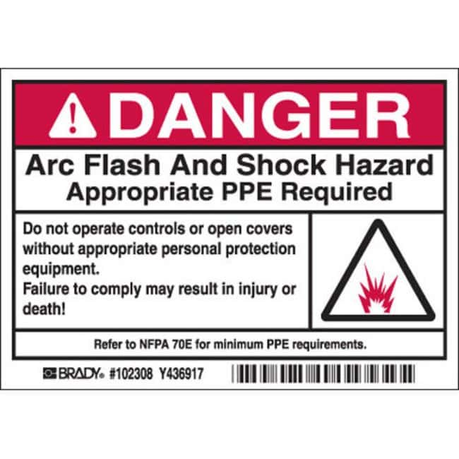 Brady Arc Flash Labels - Self-Sticking Polyester Danger Header with picto,