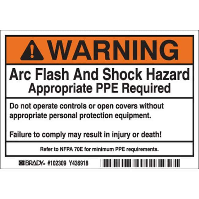 Brady Arc Flash Labels - Self-Sticking Polyester Warning Header, 100 /
