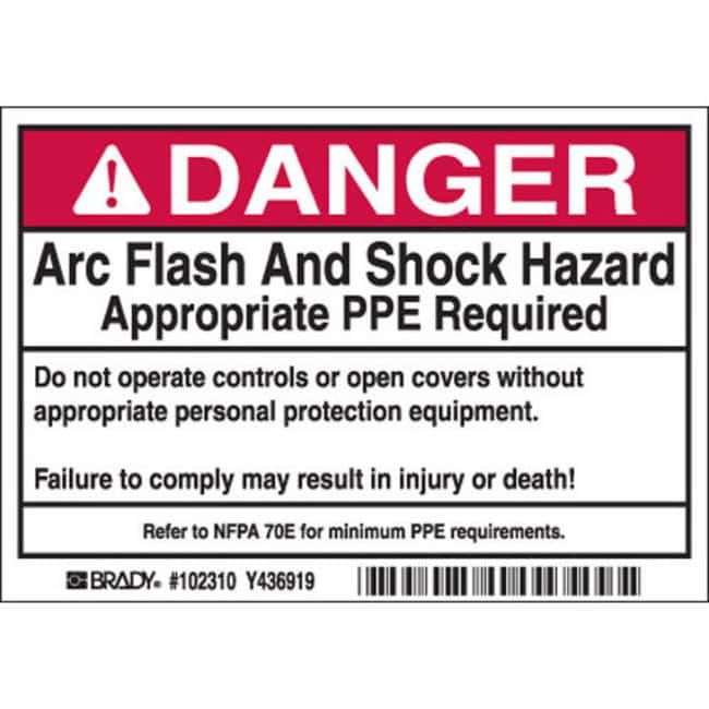 Brady Arc Flash Labels - Self-Sticking Polyester Danger Header, 100 / ROL:Gloves,