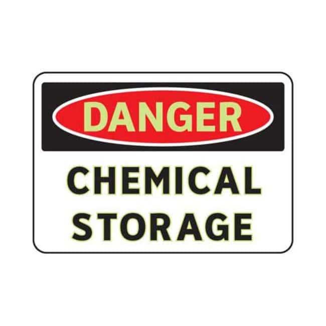 Brady Small Aluminum Danger Sign: CHEMICAL STORAGE Black/red on white;