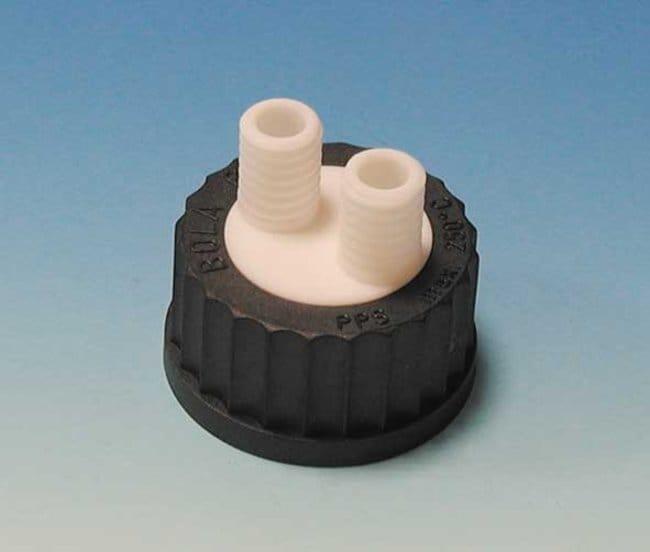 Bohlender™BOLA™ Schraubkappen mit Mehrfachverteiler für Flaschen PFA; For 2 x GL 14 necks Bohlender™BOLA™ Schraubkappen mit Mehrfachverteiler für Flaschen