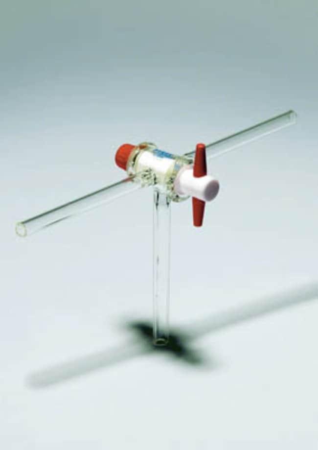 Pyrex™ 3-Wege-Absperrhahn mit T-Bohrung, geraden Armen und PTFE-Schlüssel Bohrung: 4mm Pyrex™ 3-Wege-Absperrhahn mit T-Bohrung, geraden Armen und PTFE-Schlüssel