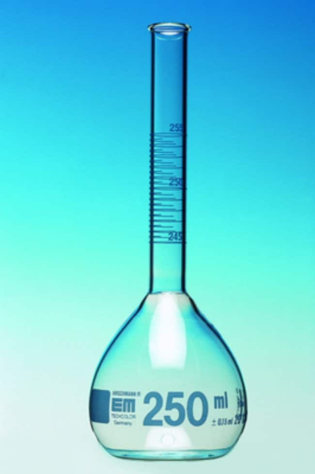 Hirschmann™ Glass Printed Scale Class A Volumetric Flask Capacity: 330mL Hirschmann™ Glass Printed Scale Class A Volumetric Flask