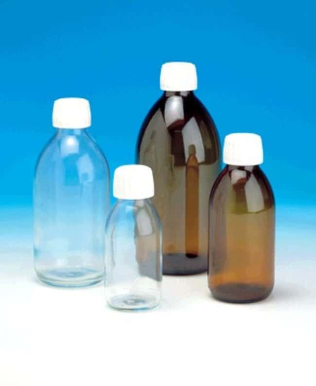 Fisherbrand™Soda Lime Glass Bottle with 28mm Fitted Closure, Amber: Bottles Bottles, Jars and Jugs